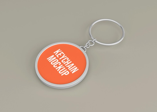 Metallic key chain mockup for key accessory