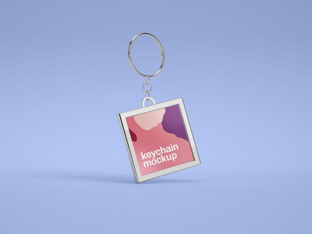 Metallic keychain mockup