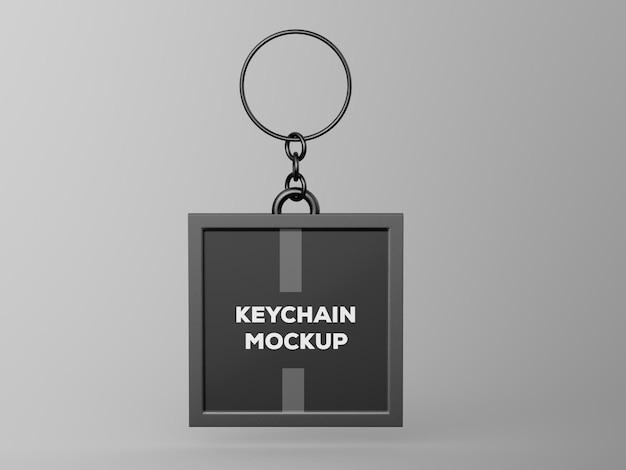 Metallic keychain tag mockup