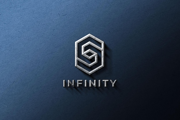 Metallic logo mockup on a blue wall