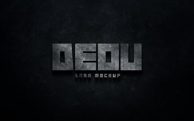 Metallic logo mockup on a concrete wall text effect template