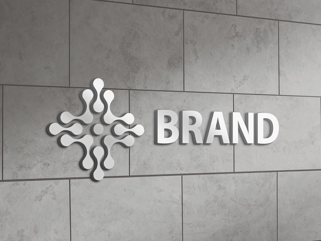 Metallic logo mockup on a tile wall