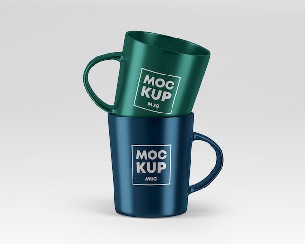 Metallic mugs mockup