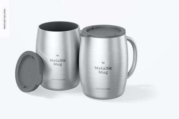 ふたのモックアップが付いている金属製のマグカップ
