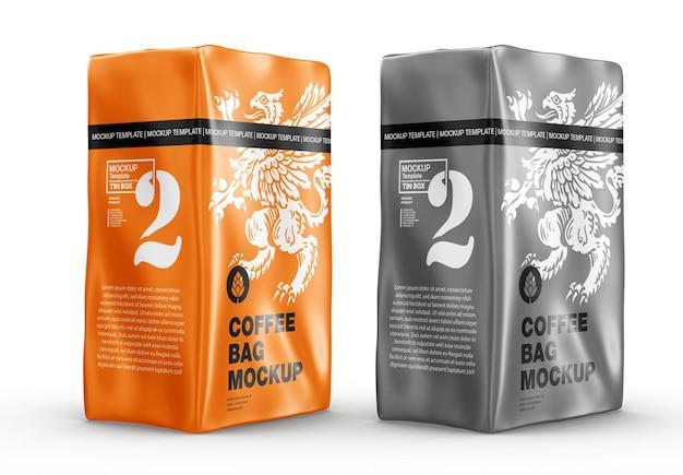 Мокап металлического бумажного мешка для кофе