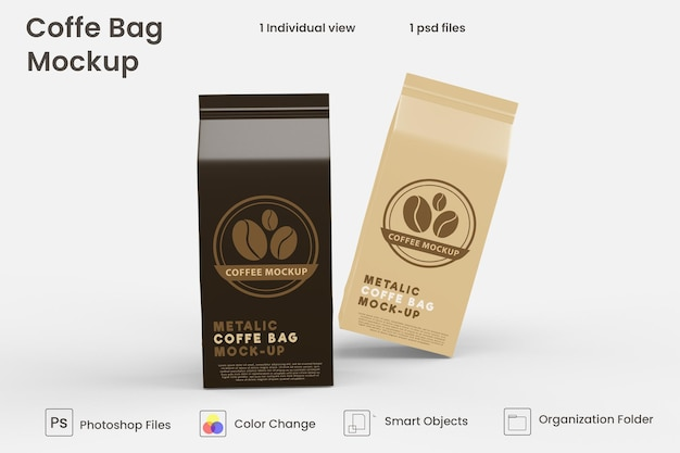 Metallic paper coffee bag mockup