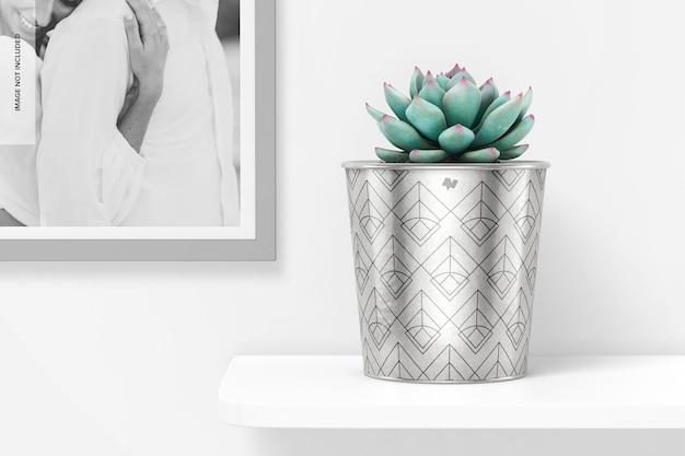 Metallic plant pot with frame mockup