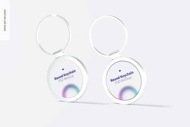 Metallic round keychains mockup
