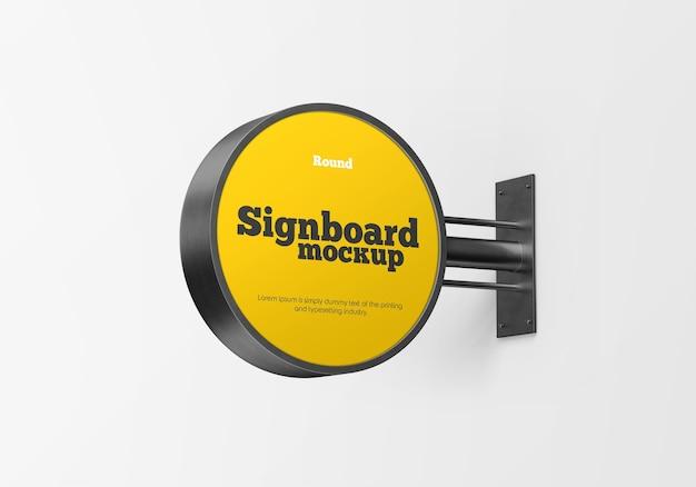 Metallic round signboard mockup