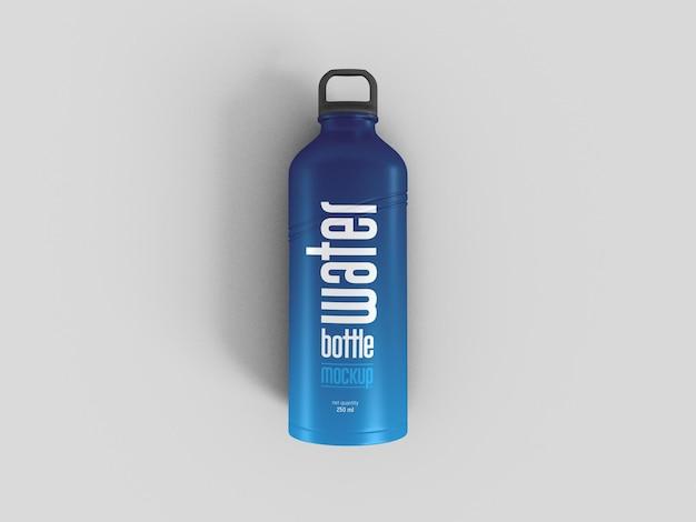 Mockup di bottiglia d'acqua sportiva metallica