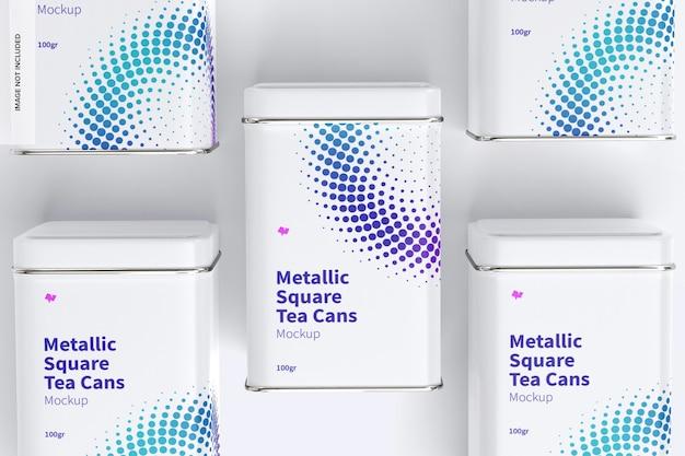 Металлические квадратные консервные банки для чая, набор, макет, вид сверху