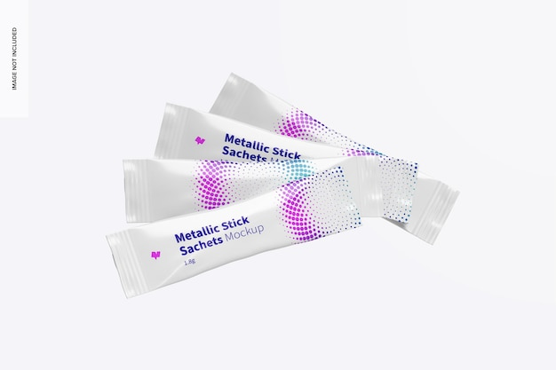 Metallic stick sachets set mockup