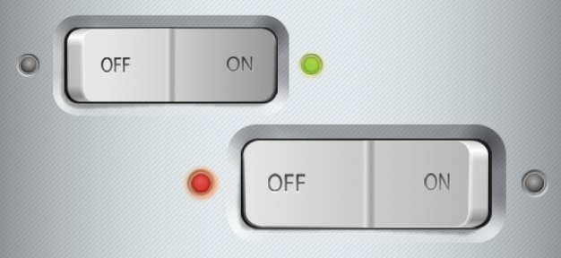 Metallic switch buttons ui psd