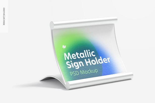Metallic table sign holder mockup, right view