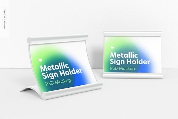 Metallic table sign holders mockup, left view