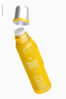 Metallic thermo bottle mockup, floating