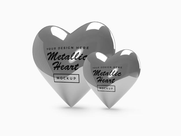 메탈릭 발렌타인 하트 모형 디자인 프리미엄 PSD 파일