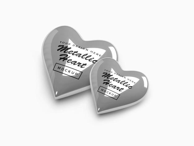 Metallic valentine heart mockup design
