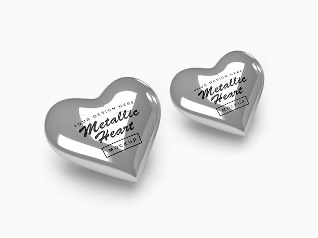 Металлический дизайн макета сердца валентина