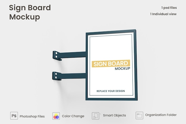 Metallic vertical signboard mockup design isolated premium psd