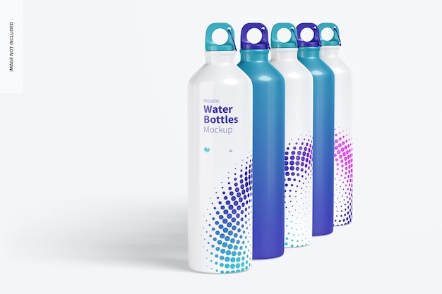 Metallic water bottles set mockup, right view
