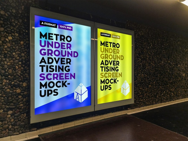 Metro underground advertising billboard mockup Premium Psd
