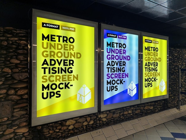 Metro underground advertising billboard mockup