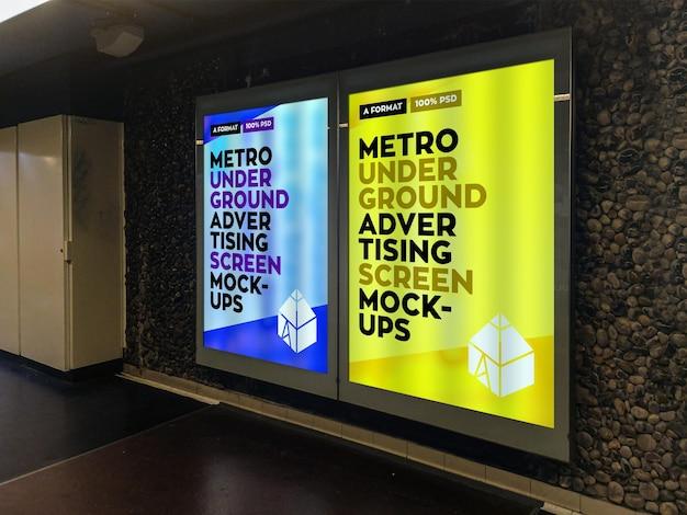 Metro underground advertising billboard mockup Premium Psd