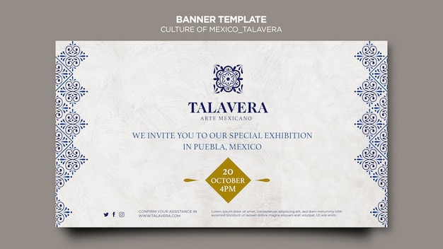 Mexican culture talavera banner template