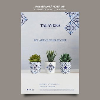 Mexican culture talavera poster template