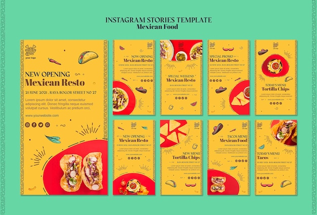 Mexican food instagram stories template