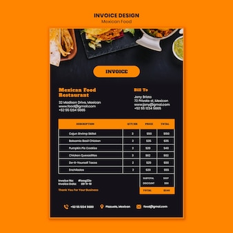 Mexican food invoice template