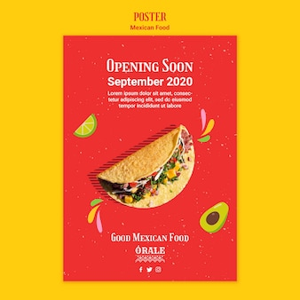 Mexican food restaurant poster template