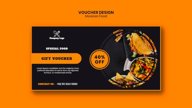 Mexican food voucher template