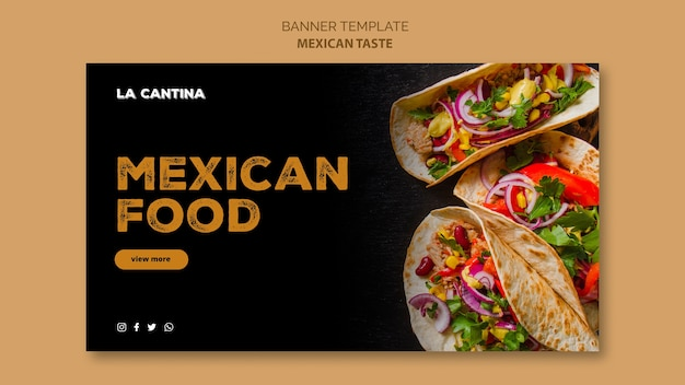 Mexican restaurant banner template concept