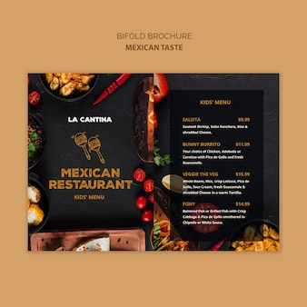 Mexican restaurant bifold brochure template
