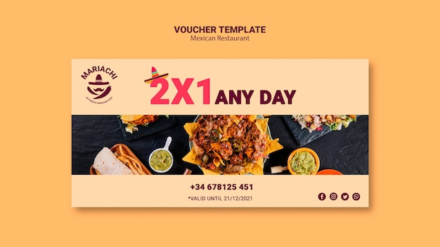 Mexican restaurant daily voucher template
