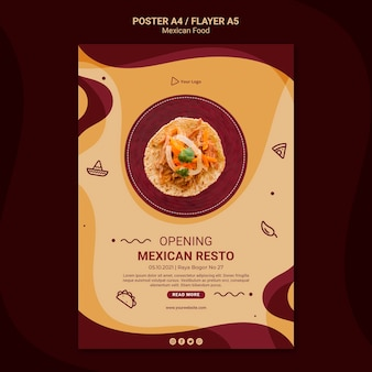 Mexican restaurant poster template