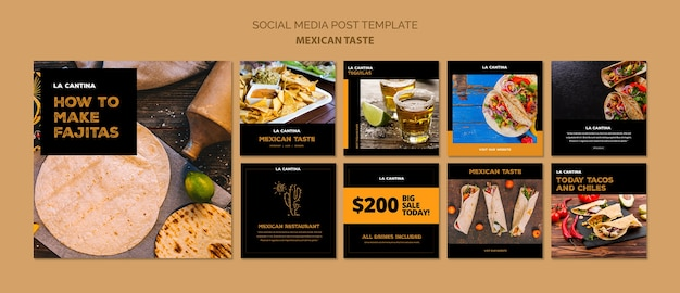 Mexican restaurant social media template concept