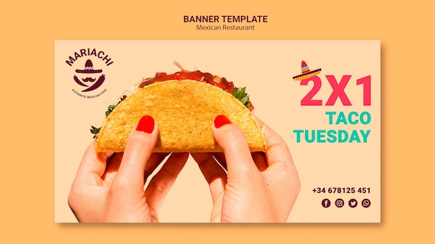 Mexican traditional dishes restaurant banner template