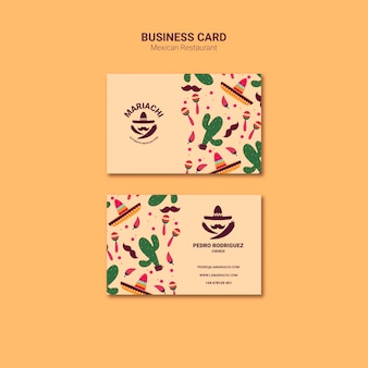 Mexican traditional dishes restaurant business card template