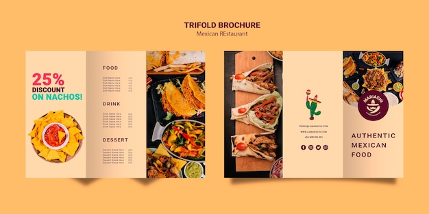 Mexican traditional dishes restaurant trifold brochure