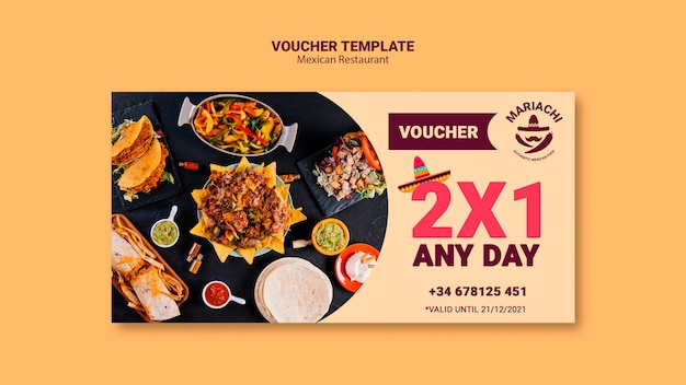 Mexican traditional dishes restaurant voucher template