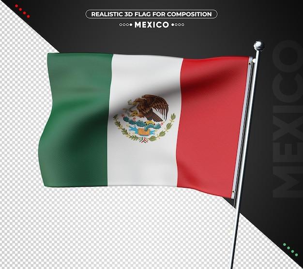 Флаг мексики 3d с реалистичной текстурой