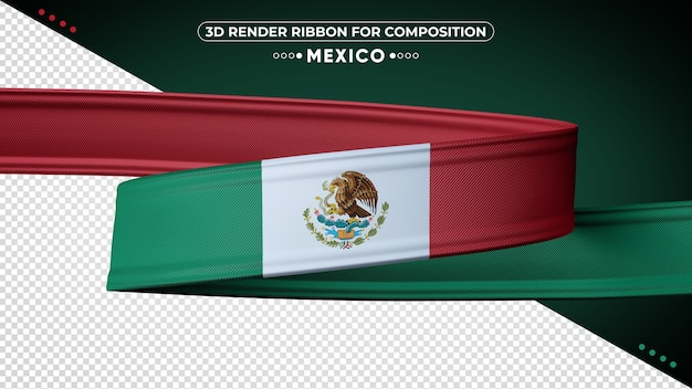 Mexico 3d render ribbon for composition