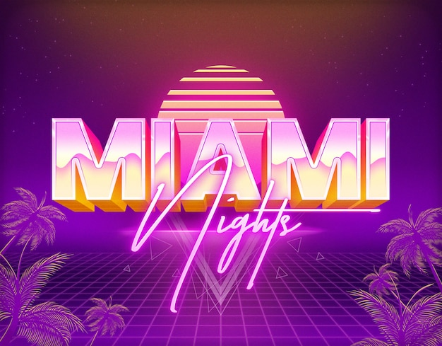 Miami nights text effects template psd layer style