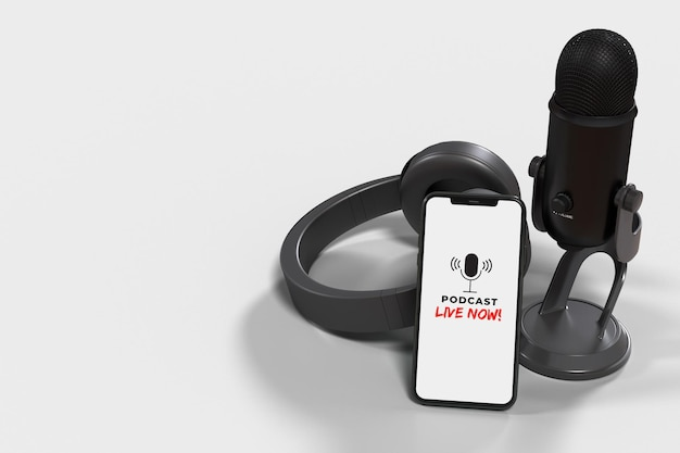 Микрофоны со смартфоном для пресс-конференции, выступления, подкаста или интервью Premium Psd