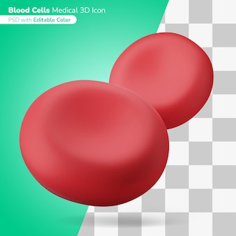 Microscopic human blood cells 3d illustration 3d icon editable color isolated