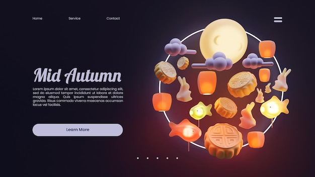 Mid autumn landing page template with 3d rendering composition