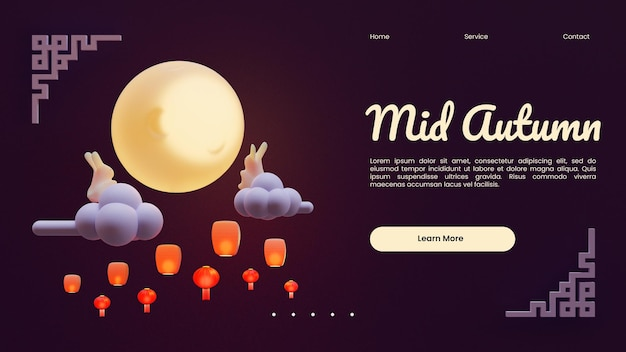 Mid autumn web page template with 3d rendering illustration